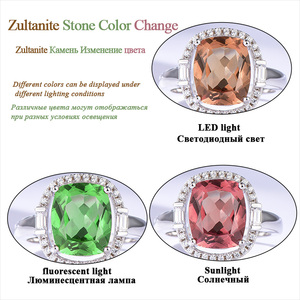 Image 5 - Kuololit Zultanite Gemstone Rings for Women Solid 925 Sterling Silver Color Change Diaspore Sultanite Bride Gifts Fine Jewelry