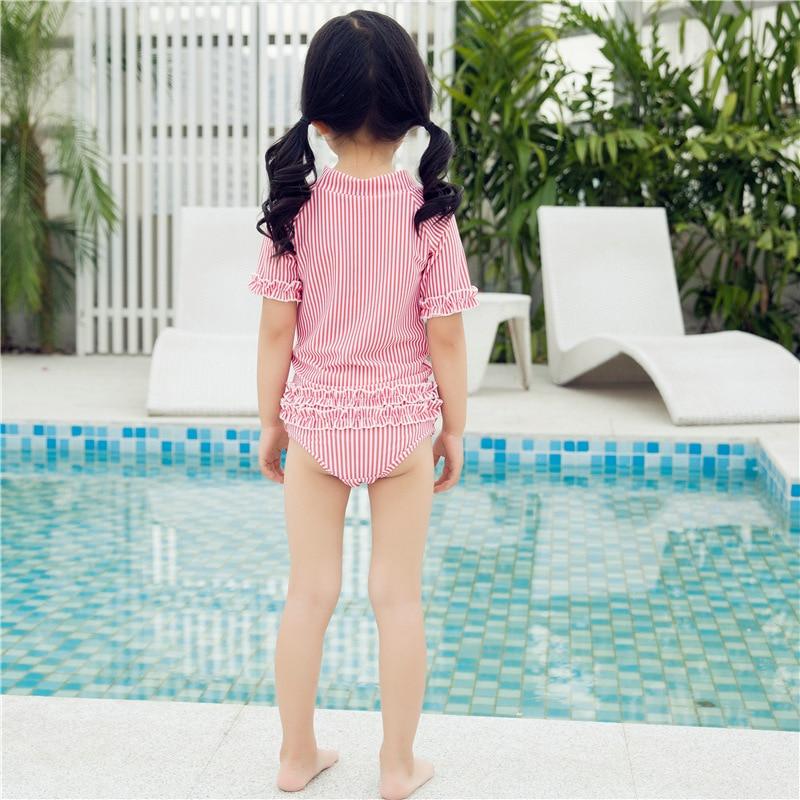2019 New Style Korean-style CHILDREN'S Swimwear Split Half-sleeve Shirt Beach Baby Kids Hotel Hot Springs Swimming Suit 2-15-Yea