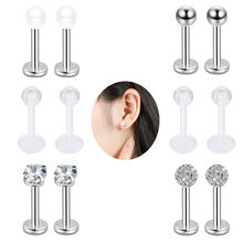 1pc Stainless Steel Labret Ring Shape Lip Rings Cartilage Piercings Tragus Ear Rings Stud Sexy Body Jewelry(China)
