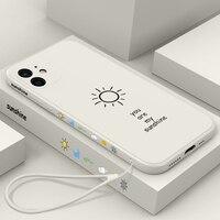 Funda de teléfono de silicona líquida cuadrada, ultrafina, bonita, Sunshine, para iPhone 12, 11 Pro, XS, Max, SE, XR, X, 8, 7, 6 Plus, con cordón de lujo