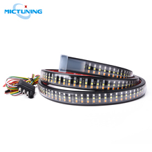 "MICTUNING Upgraded 60"" Triple Row Car LED Tailgate Strip w/ Amber Strobe Turn Signals Red Brake Running Lamp White Reverse Light"