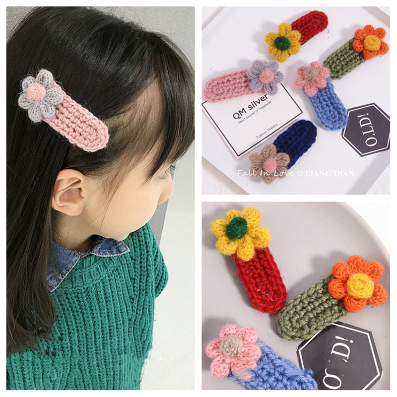 1pc Kids Cute Winter Wool Knitting Crochet Flower Snap BB Hairpins Handmade Barrettes Geometric Children Hair Clips Accessories in Hair Accessories from Mother Kids