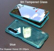 Adsorpcja magnetyczna 360 etui na cały telefon do Huawei honor 20 Pro szkło hartowane przednia tylna pokrywa do honor 20 przypadkach metalowy zderzak