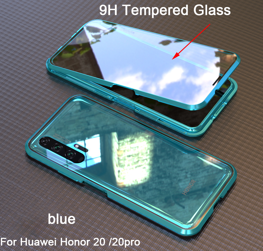 Magnetic Adsorption 360 full Case For Huawei Honor 20 Pro Tempered Glass The front Back Cover For honor 20 Cases Metal Bumper image