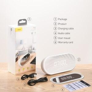 Image 5 - Baseus yüksek kalite Bluetooth hoparlör ile çalar saat fonksiyonu bas ses taşınabilir müzik çalar kablosuz hoparlör halka şeklindeki lamba
