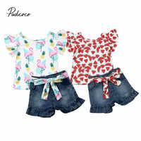 Pudcoco 2 stücke Kleidung Set Kleinkind Baby Mädchen Flamingo Print Floral Wassermelone Tops T-shirt Denim Jeans Shorts Hosen Kinder Outfits