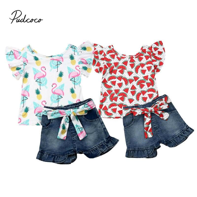Pudcoco 2pcs Clothes Set Toddler Baby Girls Flamingo Print Floral Watermelon Tops T-shirt Denim Jeans Shorts Pants Kids Outfits