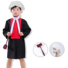 Halloween Cosplay Boys Kid Clothes Judge Lawyer Uniform Matching Wig Hammer 4T-10T Carnival Role Play Girl Prom Gown Costume