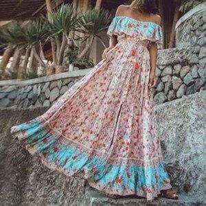 Праздничное розовое платье с открытыми плечами, оборками, коротким рукавом, летнее богемное женское однобортное длинное платье на пуговица...