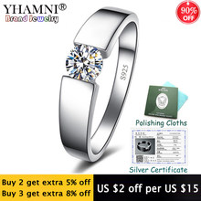 Sent Certificate! 100% Solid 925 Silver Rings Round Solitaire CZ Zircon Wedding Rings Fashion Jewelry for Women and Men KPRD10(China)