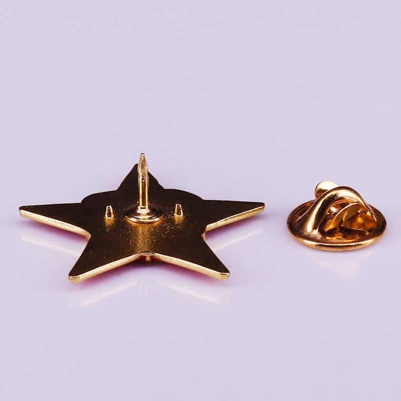 Retro Merah Soviet Badge Bintang Uni Soviet Tentara Komunis Perhiasan
