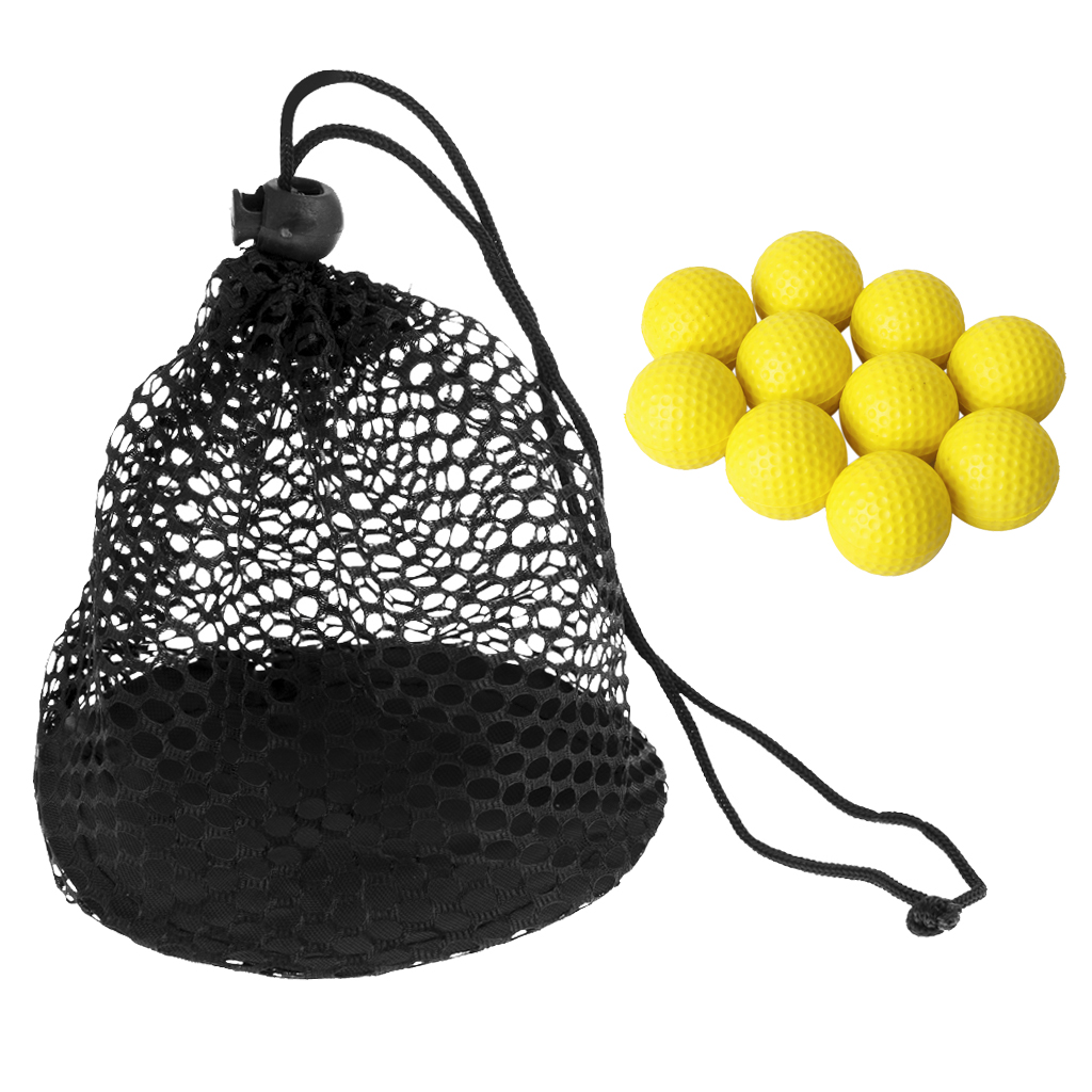 10pcs Soft Foam Training Golf Balls With Golf 12 Balls Mesh Drawstring Closure Carrying Bag For Approach Shot Full Shot Practice