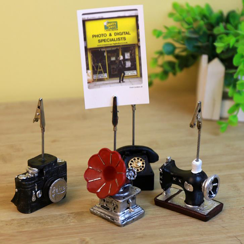 1 Pcs Retro Vintage Telephone Camera Sewing Machine Desk Notes Folder Message Photo Paper Clips Stand Card Holder Stationery