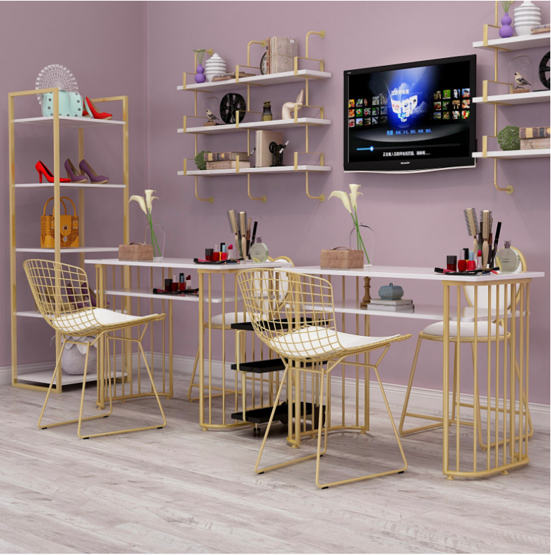 Gold Marble Manicure Table And Chair Single Double Table Manicure Table Manicure Shop Table And Chair Set Combination
