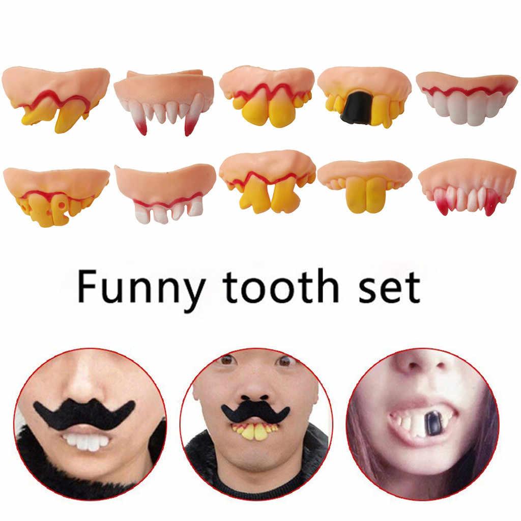 Cadılar bayramı 10 adet çirkin sahte diş Dracula kostüm partisi komik Gag hediye Cosplay kostüm Prop canavar protez