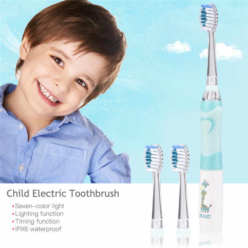 2 قطعة الطفل الاطفال فرشاة أسنان كهربائية بالموجات الصوتية الملونة مصباح ليد للماء الأطفال لينة الشعر الخشن فرشاة أسنان + 4 استبدال فرشاة رئيس