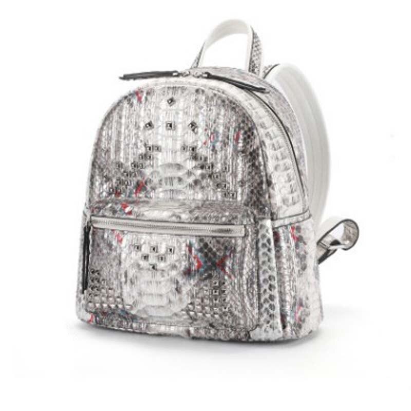 Dongou Fashion  Python Skin Two Shoulders  Backpack  Genuine Leather  Female Bag   Leisure  Backpacking  Female  Women Backpack