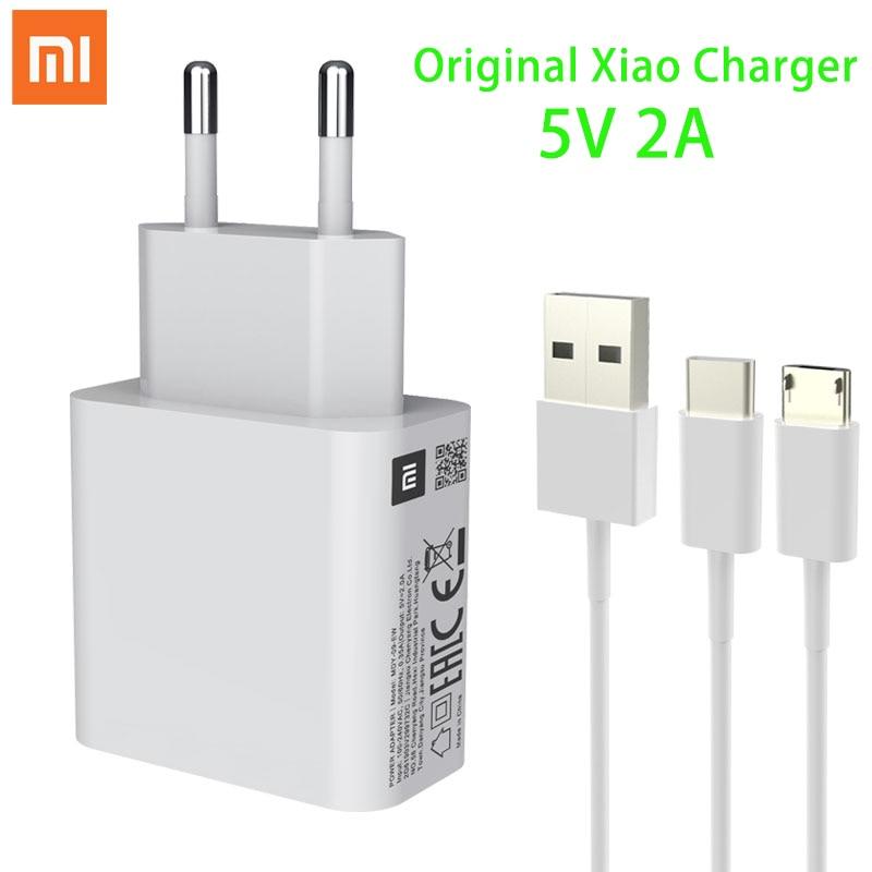 Оригинальное зарядное устройство Xiaomi 5 В, 2 А, кабель Micro USB Type-C для передачи данных, дорожный зарядный адаптер для MI 3, 4, 5, Redmi Note 3, 3S, 3X, 4X