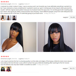 Image 4 - Bang Wig Human Hair Straight Pre Plucked 360 Lace Frontal Wig With Baby Hair Wig With Bangs 150 Density Preplucked Lace Wig Remy