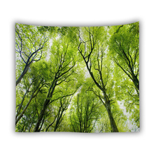 Green Forest Wall Hanging Tapestry Sunshine Tree Art Polyester Tapestry Living Room Decoration Picnic Throw Blanket Yoga Mat wall hanging art decor sunshine tree print tapestry
