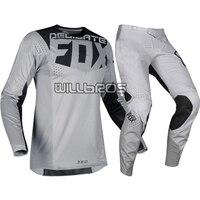 Delicate Fox Motorcycle MX 360 Kila Jersey Pants Motorbike Off road Scooter Motocross Race Gear Set Grey Suit
