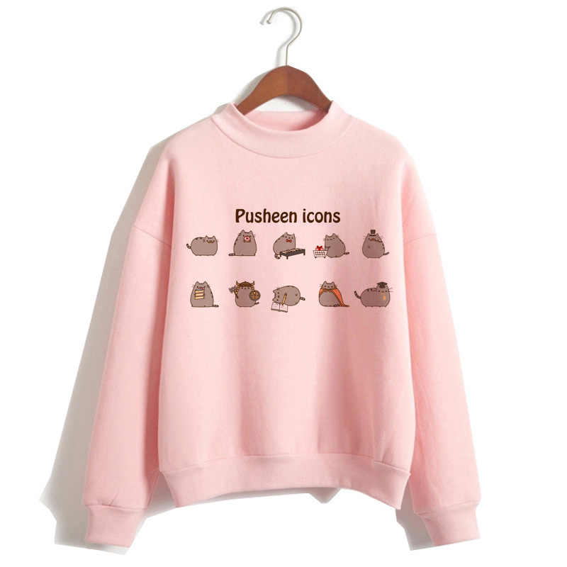 pusheen the cat hoodie women fashion cartoon korean harajuku pink female style kawaii 90s clothes hood Sweatshirt Oversized
