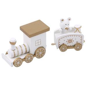 Image 5 - Mini ensemble de trains de noël en bois, jeux de décoration de noël, jeux de trains en bois, modèle de véhicule, jouets de noël, nouvel an, 2020