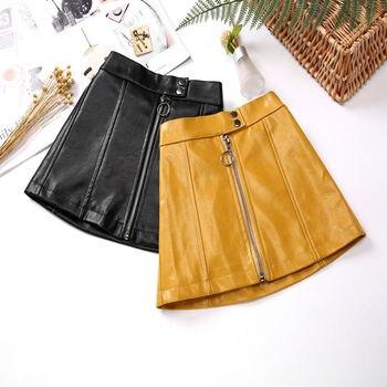 Toddler Girl Skirts 2019 Autumn Winter New Baby Girl PU Leather Skirt Toddler Clothes Children's Zipper Design A-line Skirts 1