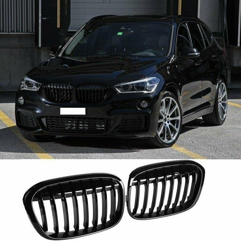 Grilles de grille de rein de pare-chocs avant noir brillant pour BMW X1 F48 F49 2016-2019 51117383363 51117383364