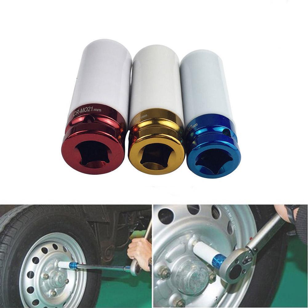 1/2in 3Pcs Alloy Sleeve Drive Thin Wall Wheel Deep Impact Nut Remover Socket Set 17mm 19mm 21mm Car Garage Maintain Repair-Tool