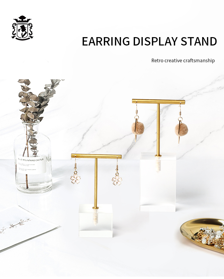 Jewelry Display Organizer Single Earring Holder Metal Acrylic Display Stand For Jewelry Shop Display