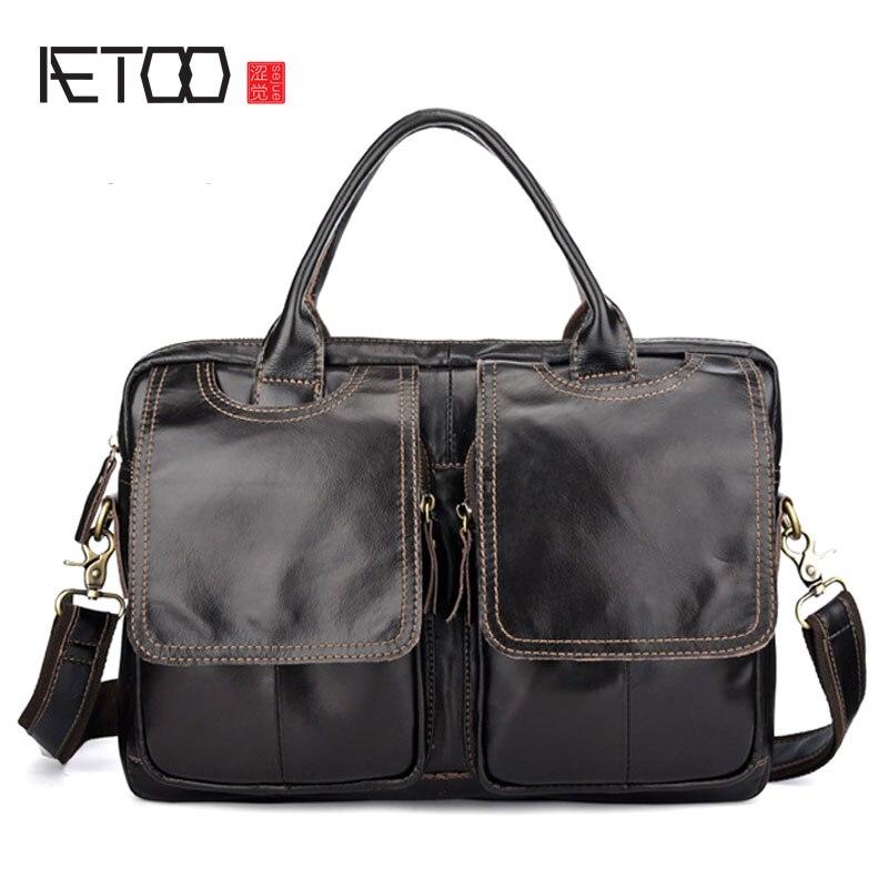 BJYL Men's Handbags Europe And America Cross Section Men's Bag Briefcase Leather Men's Messenger Bag Shoulder Bag