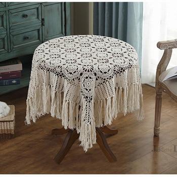 Mantel de mesa con borlas de lujo, mantel de encaje pastoral nórdico, manteles redondos de ganchillo, mantel decorativo para mesa de comedor y Navidad
