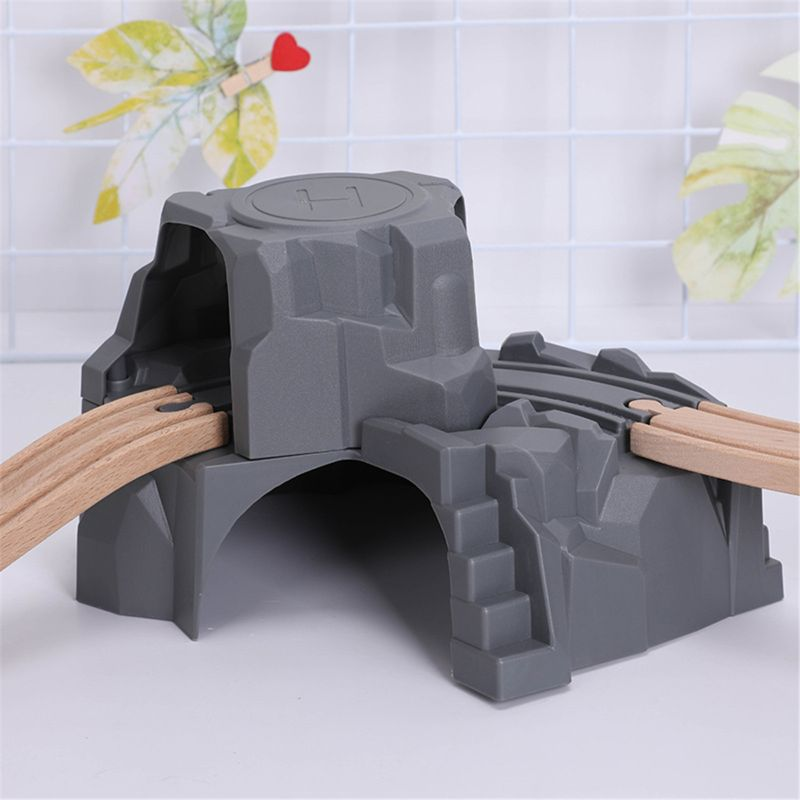 Plastic Grey Double Tunnel Wooden Train Track Accessories For Tunnel Track Train Baby Toy Accessories