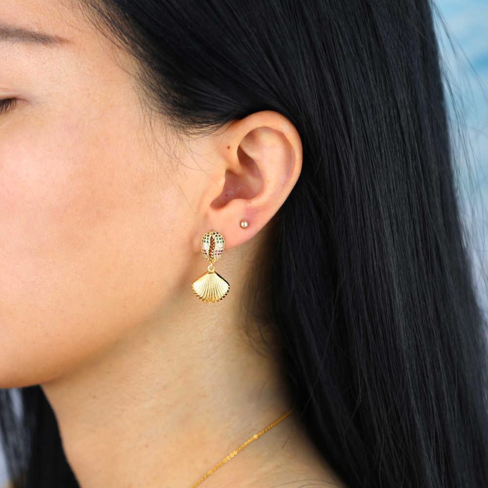 Sdzstone koreański słodki czeski dynda muszla morze spadek kolczyki 2020 naturalne powłoki Dangle kolczyki lato ucha biżuteria