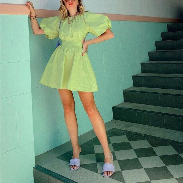 Green O Neck Casual Women Dress Lantern Short Sleeve Solid Pink Mini Dress Ladies Elegant A Line Summer Dresses Cotton 2021 6