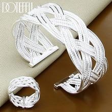 DOTEFFIL 925 ayar gümüş dokuma Web bileklik yüzük seti kadın düğün nişan parti moda Charm takı