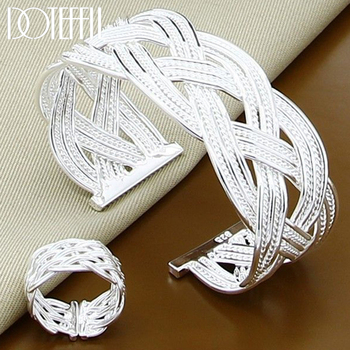 DOTEFFIL 925 Sterling Silver Interwoven Web Bangle Ring Set For Woman Wedding Engagement Party Fashion Charm Jewelry