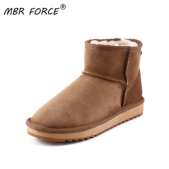 MBR FORCE New Classic sheepskin leather wool fur lined women winter ankle suede snow boots for women short basic winter shoes mbr force classic knee high sheepskin suede leather wool fur shearling lined winter boots for women snow boots shoes size 34 44
