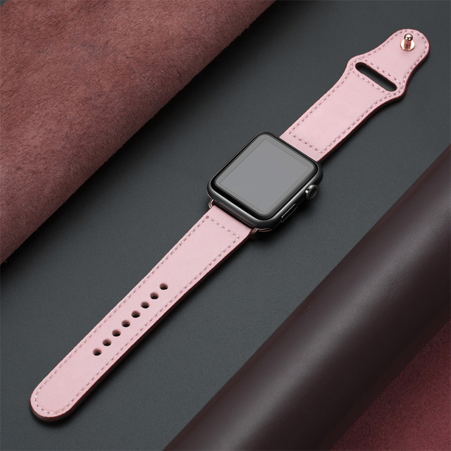 Genuine leather loop strap for apple watch band 42mm 44mm apple watch 4 5 38mm 40mm iwatch 3/2/1 correa replacement bracelet 4