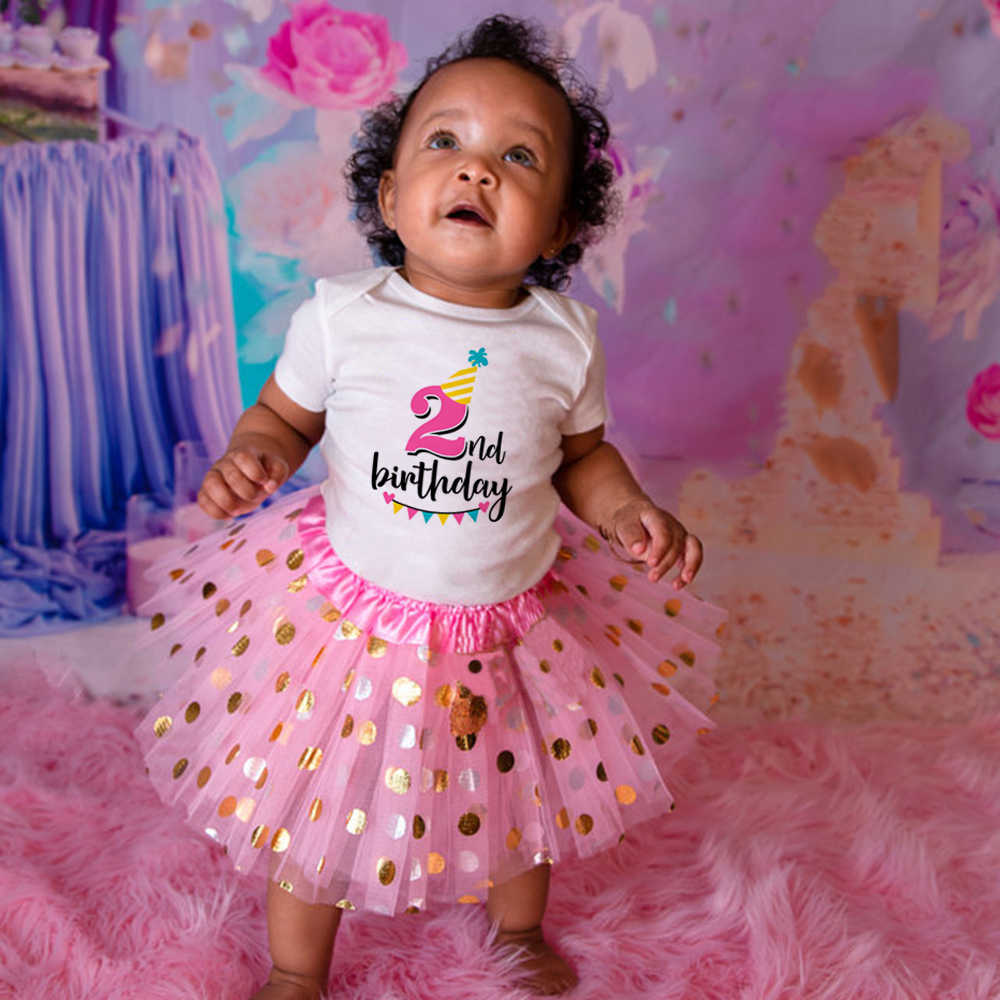 Kid Girls First 1st Birthday Dress Set T-Shirt Tutu Skirt Outfits Party Clothes