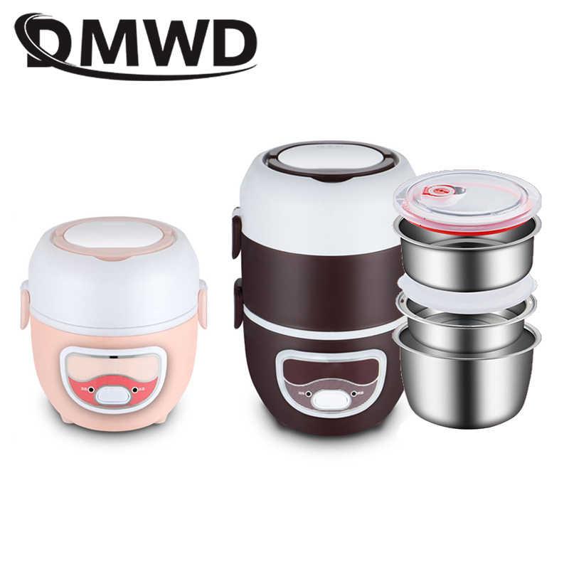 DMWD وعاء طبخ أرز كهربائي صغير الفولاذ المقاوم للصدأ 2/3 طبقات وجبة باخرة سخان الحرارية التدفئة الغداء صندوق لحفظ الطعام دفئا الاتحاد الأوروبي