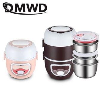DMWD Mini Cuiseur à Riz électrique Acier Inoxydable 2/3 Couches Repas Chauffe-vapeur Chauffage Thermique Boîte à Déjeuner Récipient De Nourriture Plus Chaud Ue