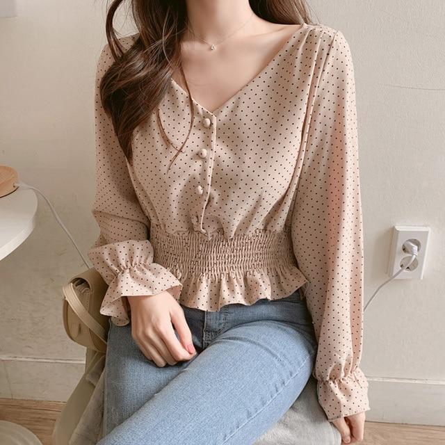 Vintage V-neck Flare Sleeve Polka Dot Women Blouse Shirts Elegant Front Buttons Slim Waist Ruffles Female Blouse blusas 6602 50 6