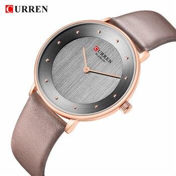 Hermosa de las mujeres relojes de cuarzo CURREN caliente Mujer Reloj regalos para mujeres cuero de moda señoras Reloj de pulsera Reloj de Mujer