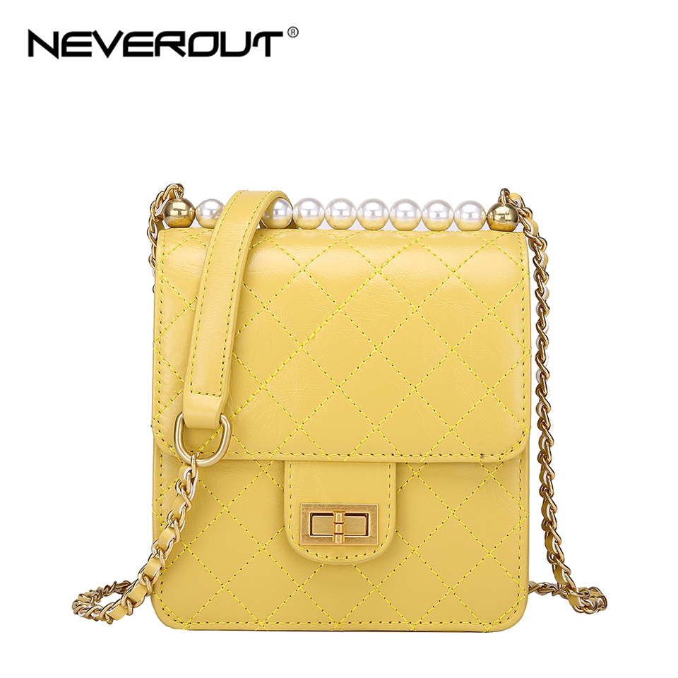 NEVEROUT Cell phone Purse Leather Bag Ladies Crossbody Pearl Style Mini Handbag Quilted Twist Lock Shoulder