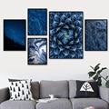 Голубое звездное небо Ледяной цветок Медузы настенная живопись холст скандинавские постеры и принты настенные картины для гостиной домашн...