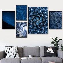 Céu estrelado azul gelo flor água-viva pintura da parede arte da lona nordic cartazes e impressões fotos de parede para sala estar decoração casa