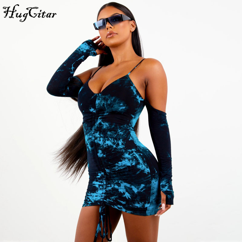 Hugcitar 2019 tie dye V-neck sexy ruched mini dress with gloves autumn winter women streetwear outfits club party outfits
