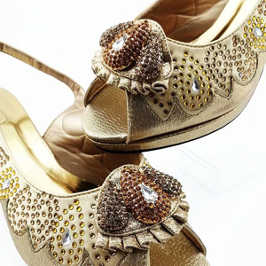 Image 4 - Latest Italian Shoes with Matching Bags Set Decorated with Women Shoes mid Heel African Shoes and Bag Matching